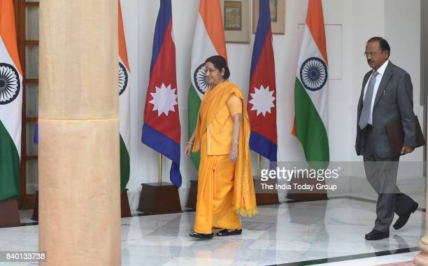 Sushma Swaraj minister of External Affairs of India and National Security Advisor Ajit Doval prior to a meeting and agreement signing ceremony in New...