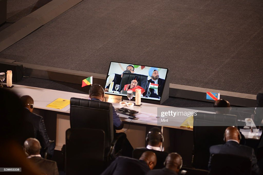 Sushma Swaraj Minister of External Affairs of India at ministerial meeting at 3rd India Africa Forum Summit at Indira Gandhi Sports Complex on October 27, 2015 in New Delhi, India.