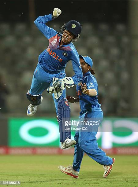 Sushma Verma of India celebrates the run out of Sana Mir Captain of Pakistan during the Women's ICC World Twenty20 India 2016 match between India and...