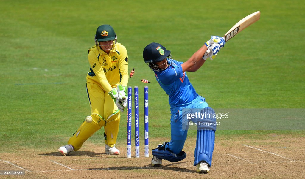 Sushma Verma of India(R) is bowled during the ICC Women's World Cup 2017 match between Australia and India at The County Ground on July 12, 2017 in Bristol, England.