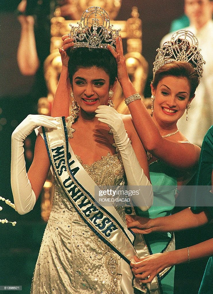 Sushmita Sen of India is crowned by outgoing Miss Universe Dayanara Torres 21 May 1994 after she won the Miss Universe 1994 final Sen 18year old...