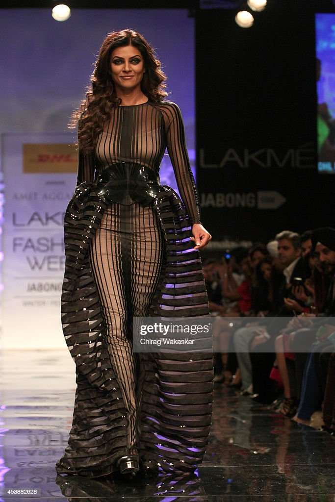 Sushmita Sen showcases designs by Amit Aggarwal during the Opening Day show as part of Lakme Fashion Week Winter/Festive 2014 at The Palladium Hotel...