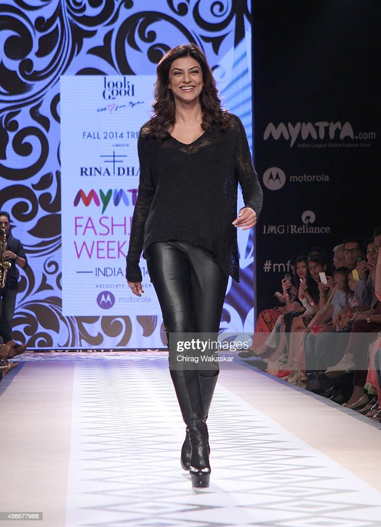 <a gi-track='captionPersonalityLinkClicked' href=/galleries/search?phrase=Sushmita+Sen&family=editorial&specificpeople=728099 ng-click='$event.stopPropagation()'>Sushmita Sen</a> showcases designs by Rina Dhaka during day 1 of Myntra Fashion Weekend 2014 at The Palladium Hotel on October 3, 2014 in Mumbai, India.