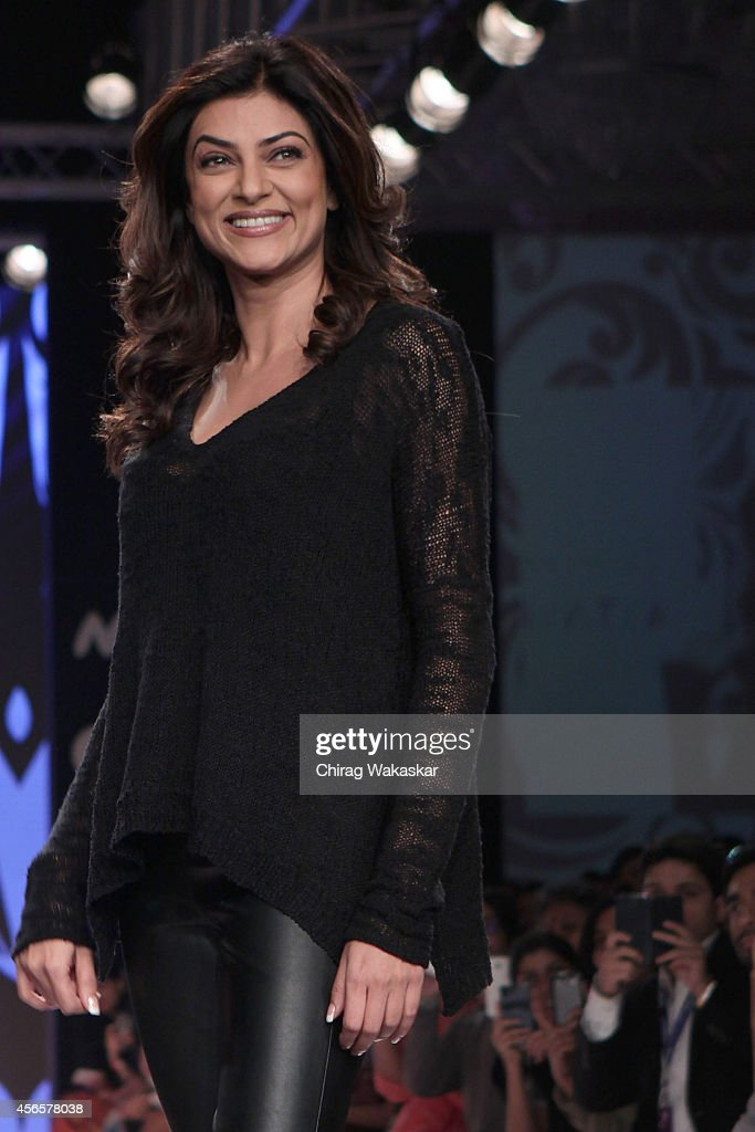 Sushmita Sen showcases designs by Rina Dhaka during day 1 of Myntra Fashion Weekend 2014 at The Palladium Hotel on October 3 2014 in Mumbai India