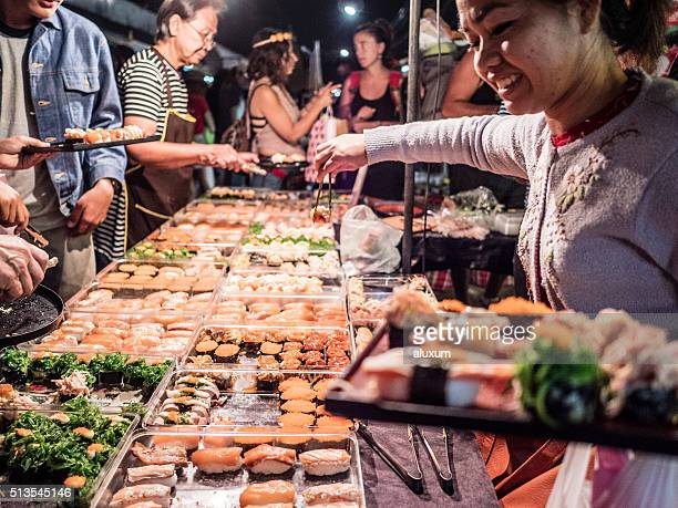 Sushy food stall at Chatuchak market Bangkok Thailand