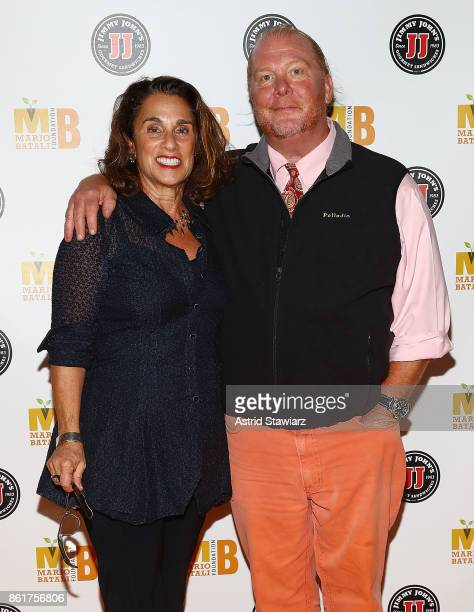 Susi Cahn and chef Mario Batali attend 6th Annual Mario Batali Foundation Honors dinner at Del Posto on October 15 2017 in New York City