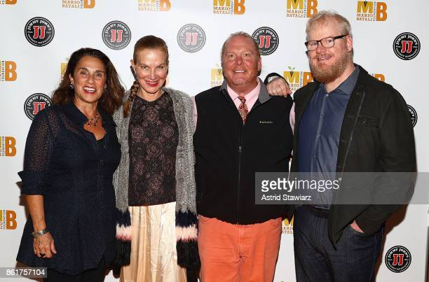 Susi Cahn Jeannie Gaffigan chef Mario Batali and Jim Gaffigan attend 6th Annual Mario Batali Foundation Honors dinner at Del Posto on October 15 2017...