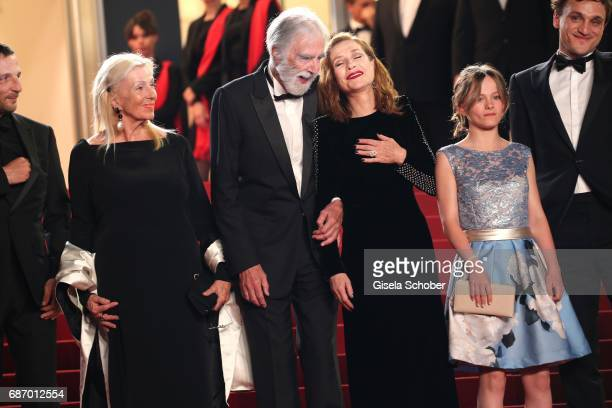 Susi Haneke director Michael Haneke Isabelle Huppart Fantine Harduin and Franz Rogowski attends the 'Happy End' screening during the 70th annual...