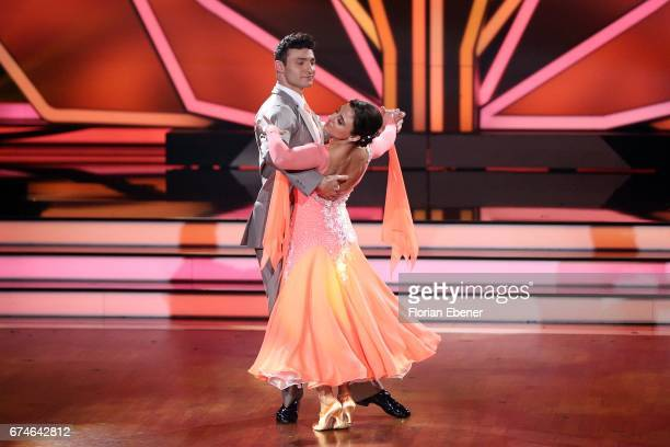 Susi Kentikian and Robert Beitsch perform on stage during the 6th show of the tenth season of the television competition 'Let's Dance' on April 28...
