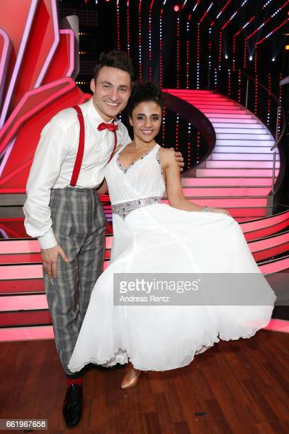 Susi Kentikian and Robert Beitsch pose after the 3rd show of the tenth season of the television competition 'Let's Dance' on March 31 2017 in Cologne...