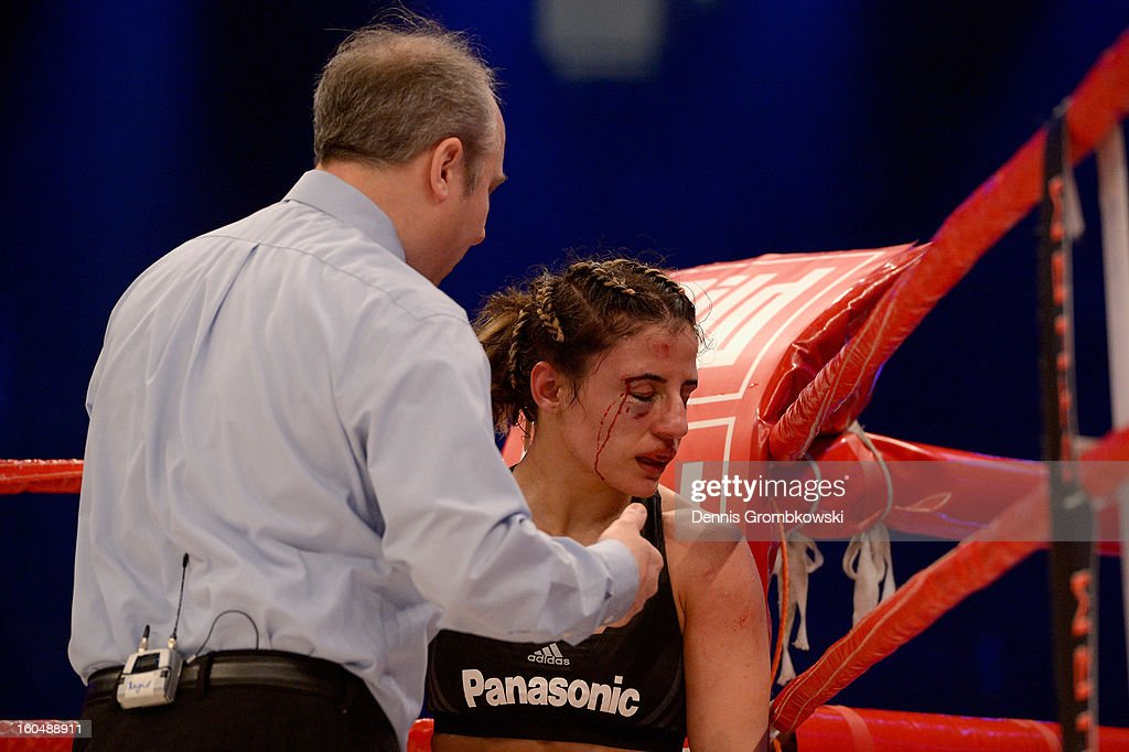 Susi Kentikian of Germany reacts during her WBA Flyweight World Championship fight against Sanae Jah of Belgium at ISS Dome on February 1, 2013 in Duesseldorf, Germany.
