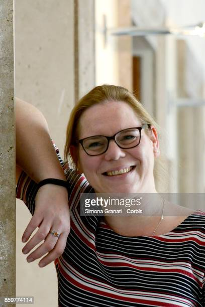 Susi Snyder meets the press at the Foreign Press Headquarters on October 10 2017 in Rome Italy The Golden Columbs Prize for Peace is an annual...