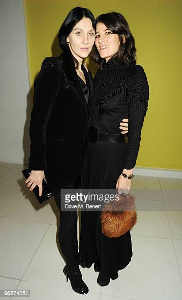 Susie Bick and Bella Freud attend the Lancome and Harper's Bazaar PreBAFTA Party cohosted by actress Kate Winslet at St Martin's Lane Hotel on...