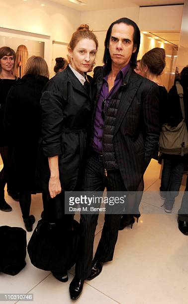 Susie Bick and Nick Cave attend a private viewing of artist Polly Borland's new photography exhibition 'Smudge' on March 17 2011 in London England