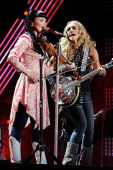 Susie Brown and Danelle Leverett of The JaneDear Girls performs on the stage at LP Field at the 2011 CMA Music Festival on June 12 2011 in Nashville...