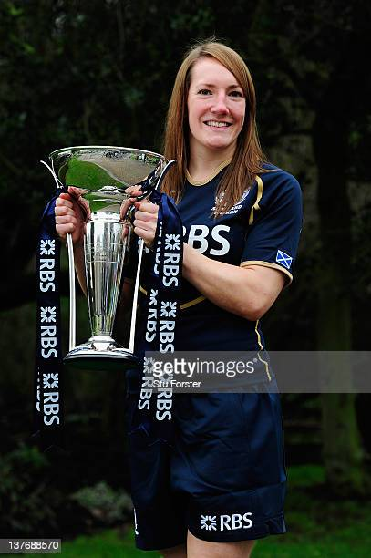 Susie Brown of Scotland poses with the Women's Six Nations Trophy during the Six Nations Launch at The Hurlingham Club on January 25 2012 in London...