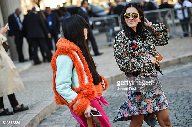 Susie Bubble and Tina Leung are seen arriving at Miu Miu Fashion show during Paris Fashion Week Spring/Summer 2017 on October 5 2016 in Paris France