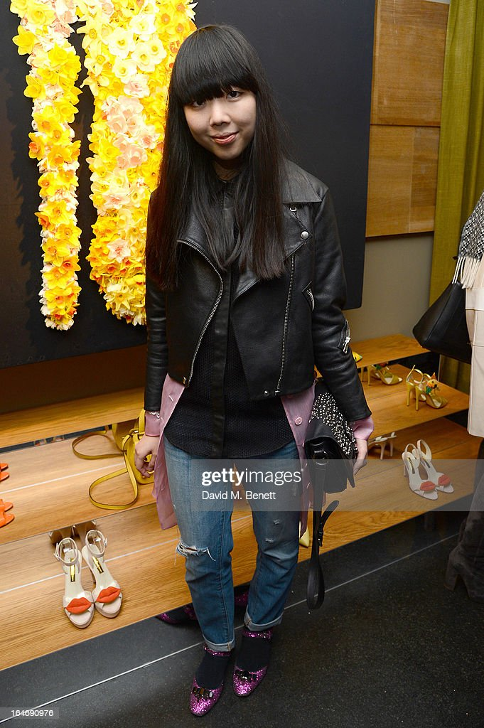 Susie Bubble attends a cocktail party for shoe designer Rupert Sanderson, hosted by Mariella Frostrup, at his Bruton Place store on March 26, 2013 in London, England.