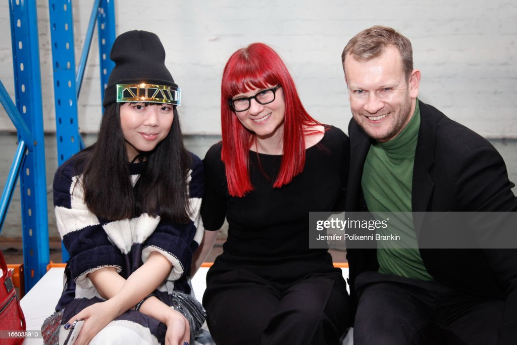 Susie Bubble, Glynis Traill-Nash and Damien Woolnough attend the Christopher Esber show during Mercedes-Benz Fashion Week Australia Spring/Summer 2013/14 at 10 Carrington Rd, Marrickville, on April 8, 2013 in Sydney, Australia.