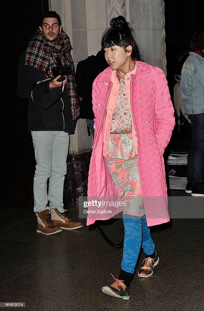 Susie Bubble seen arriving to the Oscar de la Renta show on February 12, 2013 in New York City.