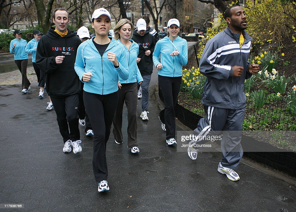 Susie Castillo and Deangelo Hall join memebers of the media on a run through Central Park during the kick off of Reebok's new 'Run Easy' campaign on...