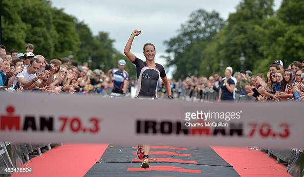 Susie Cheetham of United Kingdom wins the women's event during the Ironman triathlon event on August 9 2015 in Dublin Ireland More than 2500 athletes...