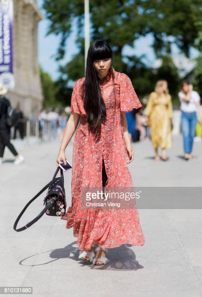 Susie Lau wearing a boho dress outside Viktor Rolf during Paris Fashion Week Haute Couture Fall/Winter 20172018 Day Four on July 5 2017 in Paris...