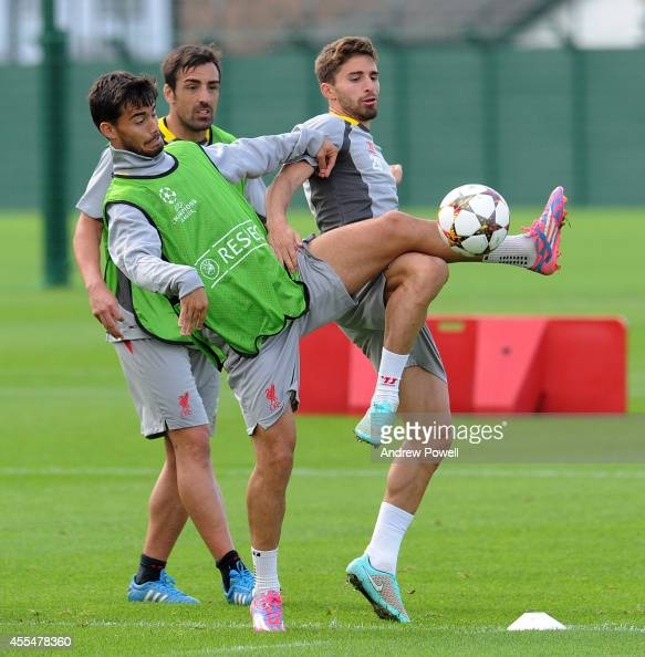 Suso and Fabio Borini of Liverpool during a training session at Melwood Training ground on September 15 2014 in Liverpool England