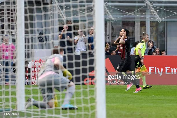 Suso of AC Milan celebrates after scoring a goal during the Serie A football match between AC Milan and US Citta di Palermo AC Milan wins 40 over US...