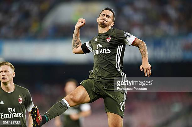 Suso of AC Milan celebrates after scoring goal 22 during the Serie A match between SSC Napoli and AC Milan at Stadio San Paolo on August 27 2016 in...