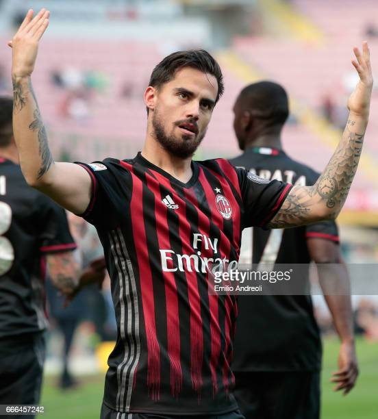 Suso of AC Milan celebrates after scoring the opening goal during the Serie A match between AC Milan and US Citta di Palermo at Stadio Giuseppe...