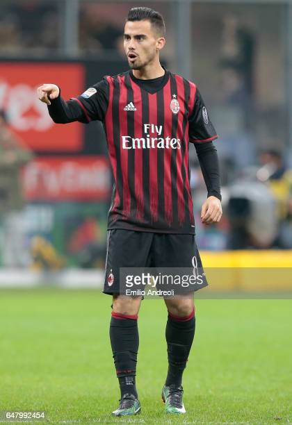 Suso of AC Milan gestures during the Serie A match between AC Milan and AC ChievoVerona at Stadio Giuseppe Meazza on March 4 2017 in Milan Italy