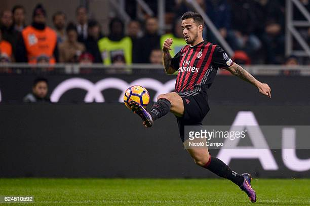 Suso of AC Milan in action during the Serie A football match between AC Milan and FC Internazionale