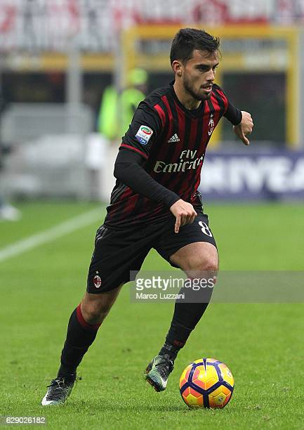 Suso of AC Milan in action during the Serie A match between AC Milan and FC Crotone at Stadio Giuseppe Meazza on December 4 2016 in Milan Italy