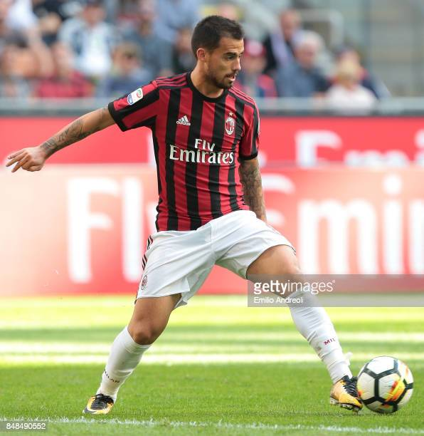 Suso of AC Milan in action during the Serie A match between AC Milan and Udinese Calcio at Stadio Giuseppe Meazza on September 17 2017 in Milan Italy