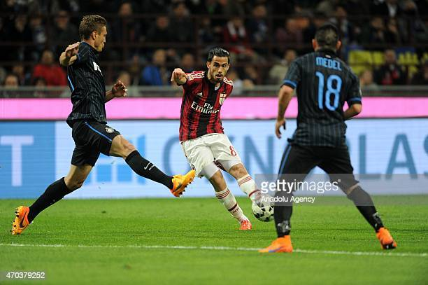 Suso of AC Milan in action during the Serie A match between FC Internazionale Milano and AC Milan at Stadio Giuseppe Meazza in Milan Italy April 19...
