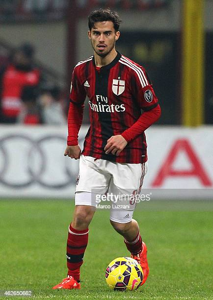 Suso of AC Milan in action during the TIM Cup match between AC Milan and SS Lazio at Stadio Giuseppe Meazza on January 27 2015 in Milan Italy
