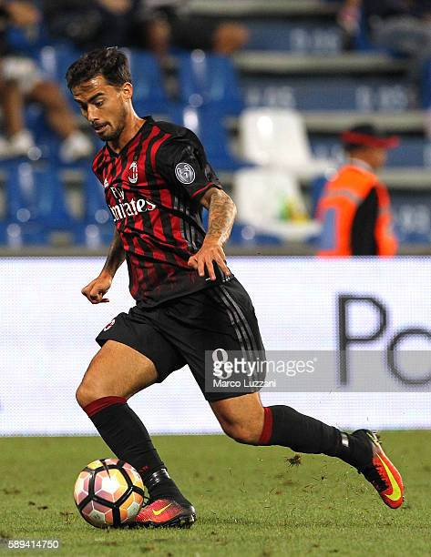 Suso of AC Milan in action during the TIM Preseason Tournament at Mapei Stadium Citta' del Tricolore on August 10 2016 in Reggio nell'Emilia Italy