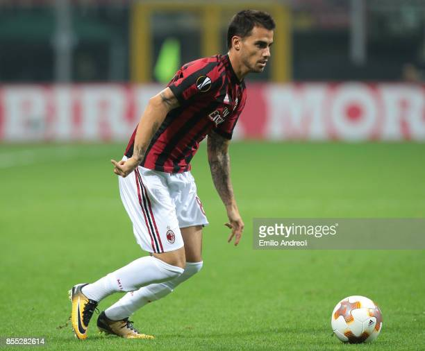 Suso of AC Milan in action during the UEFA Europa League group D match between AC Milan and HNK Rijeka at Stadio Giuseppe Meazza on September 28 2017...