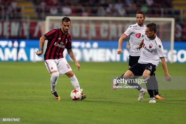Suso of Ac Milan in action during the UEFA Europa League Qualifying PlayOffs round first leg match between AC Milan and KF Shkendija AC Milan wins 60...
