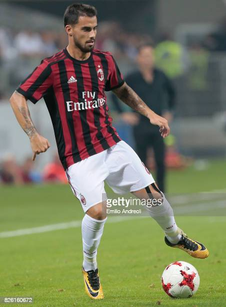 Suso of AC Milan in action during the UEFA Europa League Third Qualifying Round Second Leg match between AC Milan and CSU Craiova at Stadio Giuseppe...