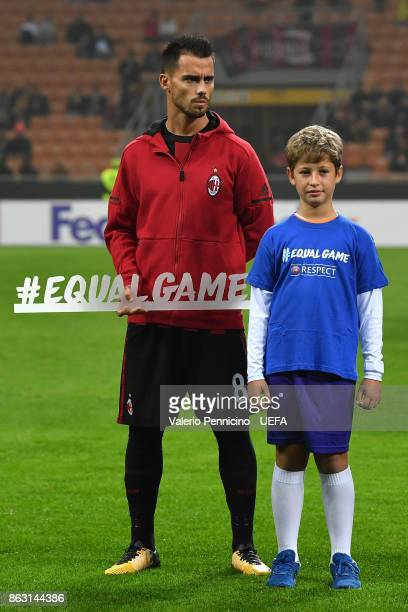 Suso of AC Milan line up with banner #Equalgame during the UEFA Europa League group D match between AC Milan and AEK Athen on October 19 2017 in...