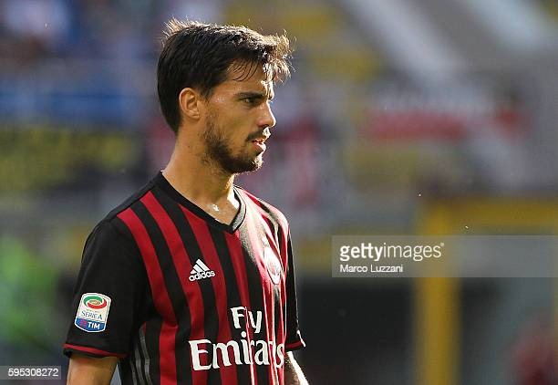 Suso of AC Milan looks on during the Serie A match between AC Milan and FC Torino at Stadio Giuseppe Meazza on August 21 2016 in Milan Italy