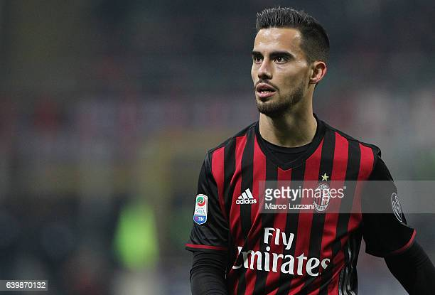 Suso of AC Milan looks on during the Serie A match between AC Milan and SSC Napoli at Stadio Giuseppe Meazza on January 21 2017 in Milan Italy