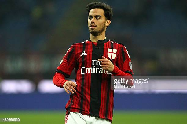 Suso of AC Milan looks on during the TIM Cup match between AC Milan and SS Lazio at Stadio Giuseppe Meazza on January 27 2015 in Milan Italy