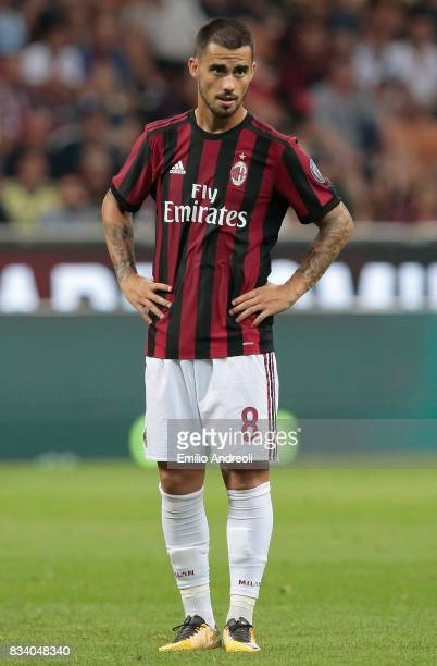Suso of AC Milan looks on during the UEFA Europa League Qualifying PlayOffs round first leg match between AC Milan and KF Shkendija 79 at Stadio...