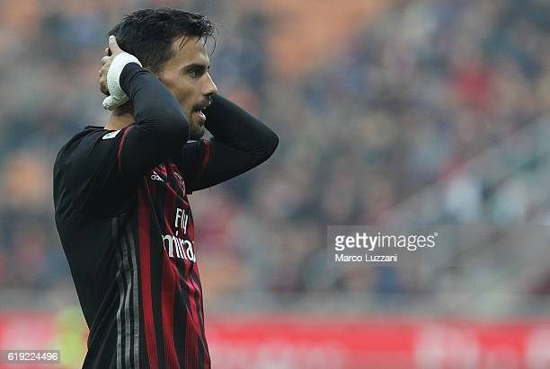 Suso of AC Milan reacts to a missed chance during the Serie A match between AC Milan and Pescara Calcio at Stadio Giuseppe Meazza on October 30 2016...