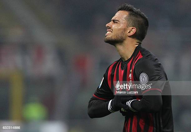 Suso of AC Milan reacts to a missed chance during the Serie A match between AC Milan and SSC Napoli at Stadio Giuseppe Meazza on January 21 2017 in...