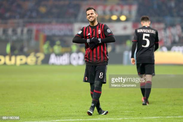 Suso of AC Milan reacts to a missed chance during the Serie A match between AC Milan and SSC Napoli SSC Napoli wins 21 over AC Milan