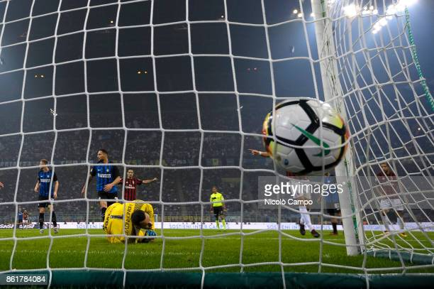 Suso of AC Milan scores a goal during the Serie A football match between FC Internazionale and AC Milan FC Internazionale wins 32 over AC Milan